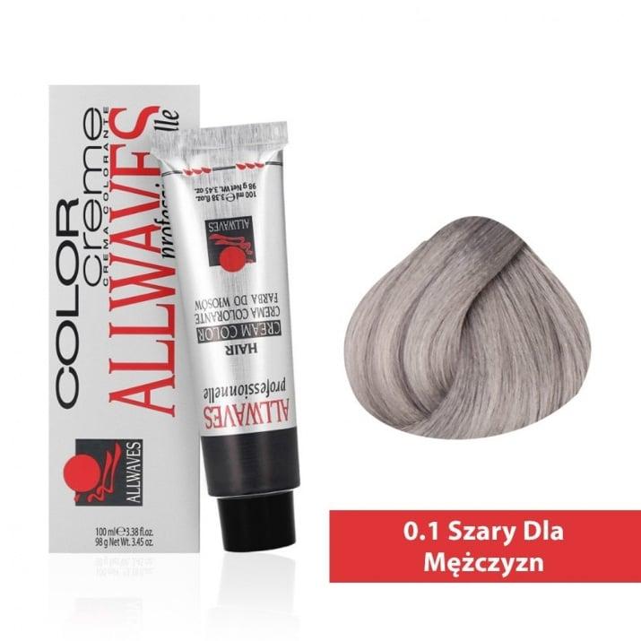 Боя за коса Allwaves Color Cream 100мл + 150мл оксидант 0/1 Сиво за мъже