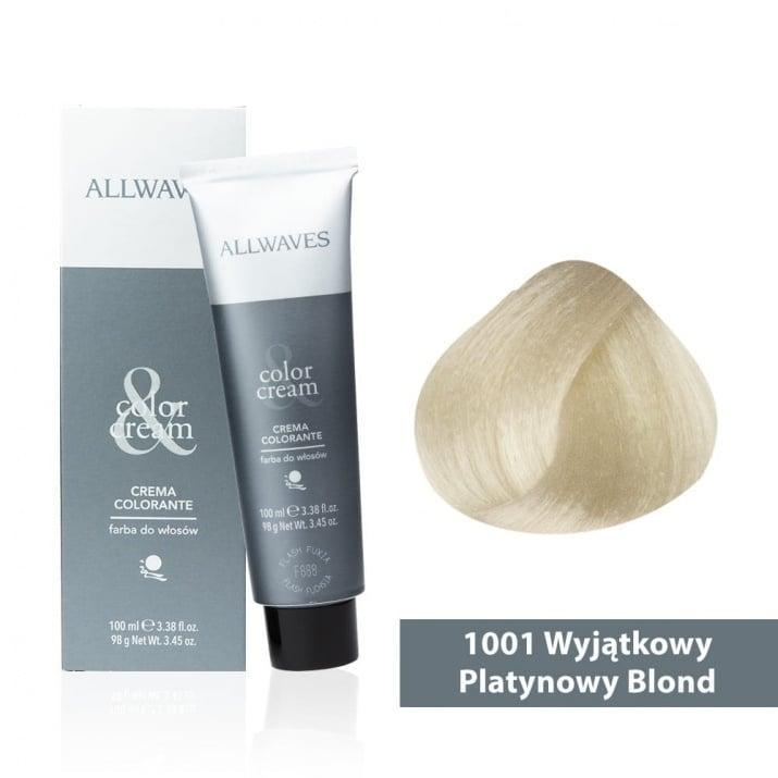 Боя за коса Allwaves Color Cream 100мл + 150мл оксидант 1001 Супер пепелно русо