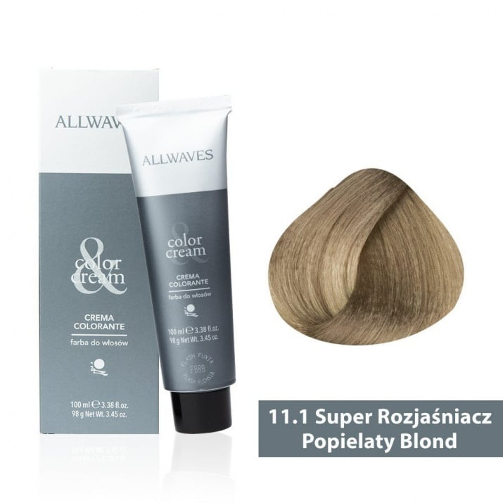 Боя за коса Allwaves Color Cream 100мл + 150мл оксидант 11/1  Ултра изсветлено пепелно русо