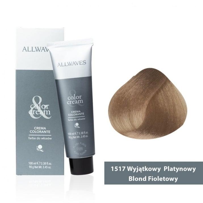 Боя за коса Allwaves Color Cream 100мл + 150мл оксидант 1517 Супер пепелно виолетово русо