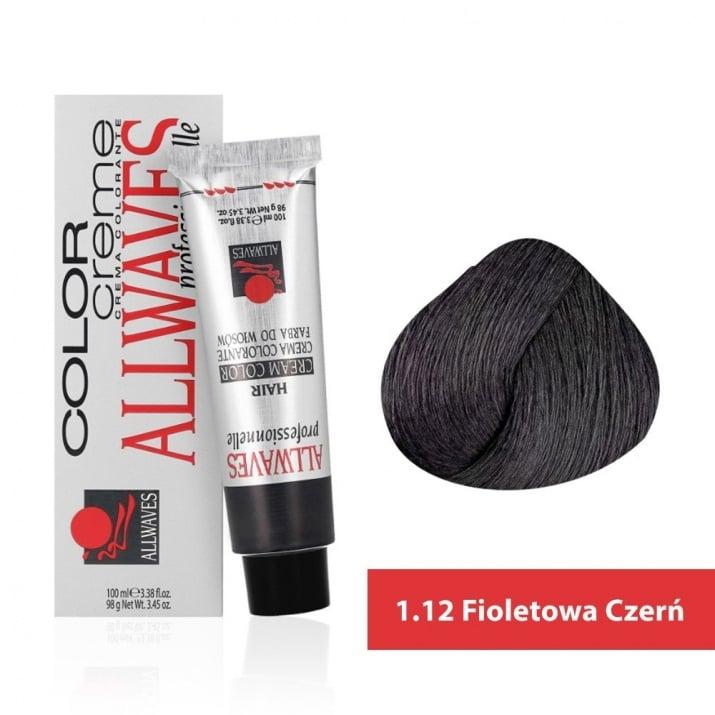 Боя за коса Allwaves Color Cream 100мл + 150мл оксидант 1/12 Виолетово-черно