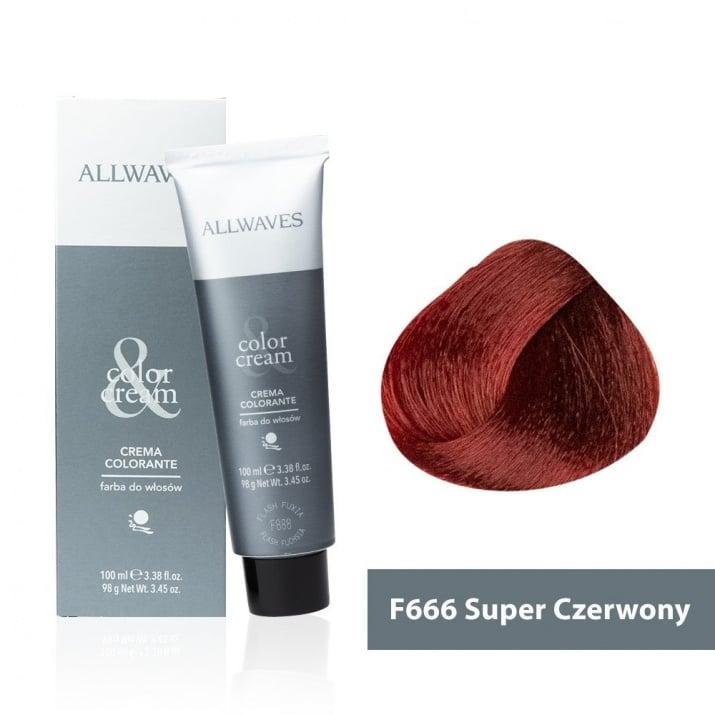Боя за коса Allwaves Color Cream 100мл + 150мл оксидант F666 Ултра червено
