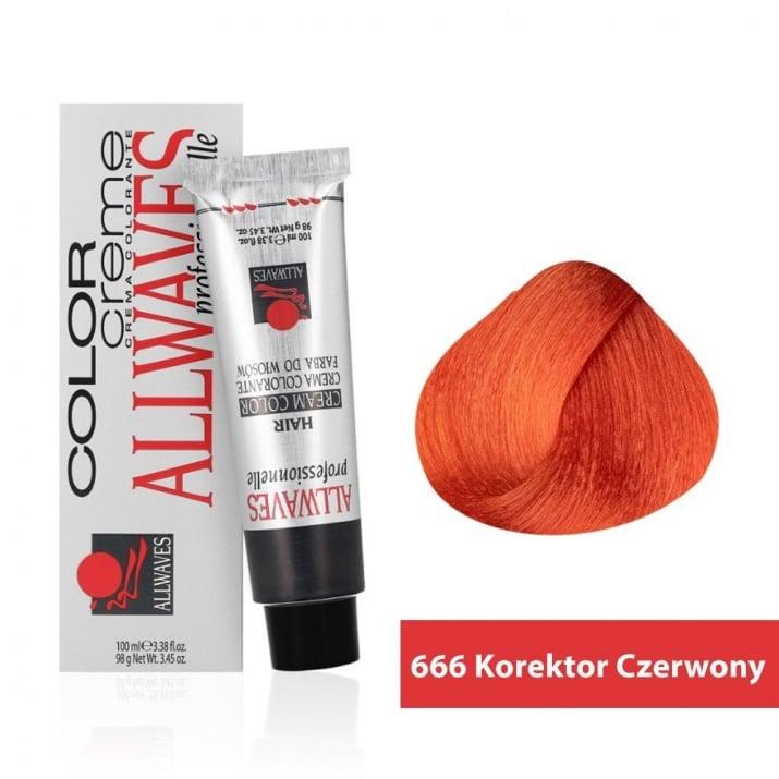 Боя за коса Allwaves Color Cream 100мл + 150мл оксидант 666 Червен коректор