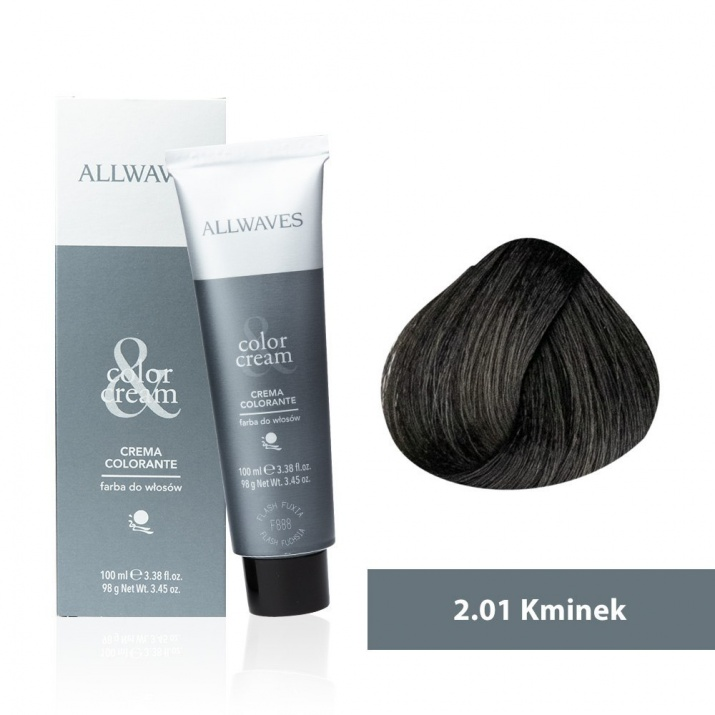 Боя за коса Allwaves Color Cream 100мл + 150мл оксидант 2/01 Кимион