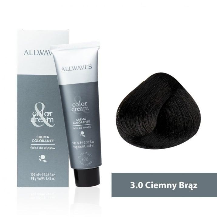 Боя за коса Allwaves Color Cream 100мл + 150мл оксидант 3/0 Тъмнокафяво