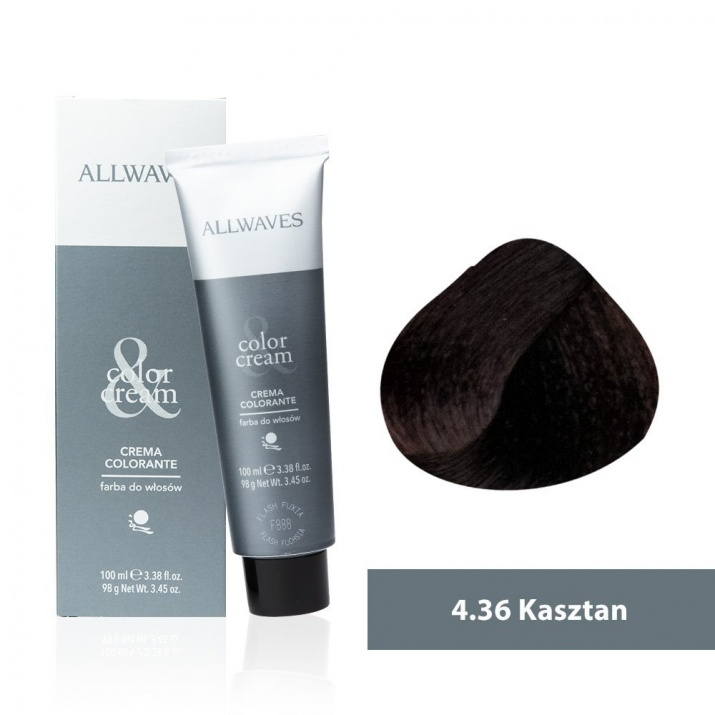 Боя за коса Allwaves Color Cream 100мл + 150мл оксидант 4/36 Лешник