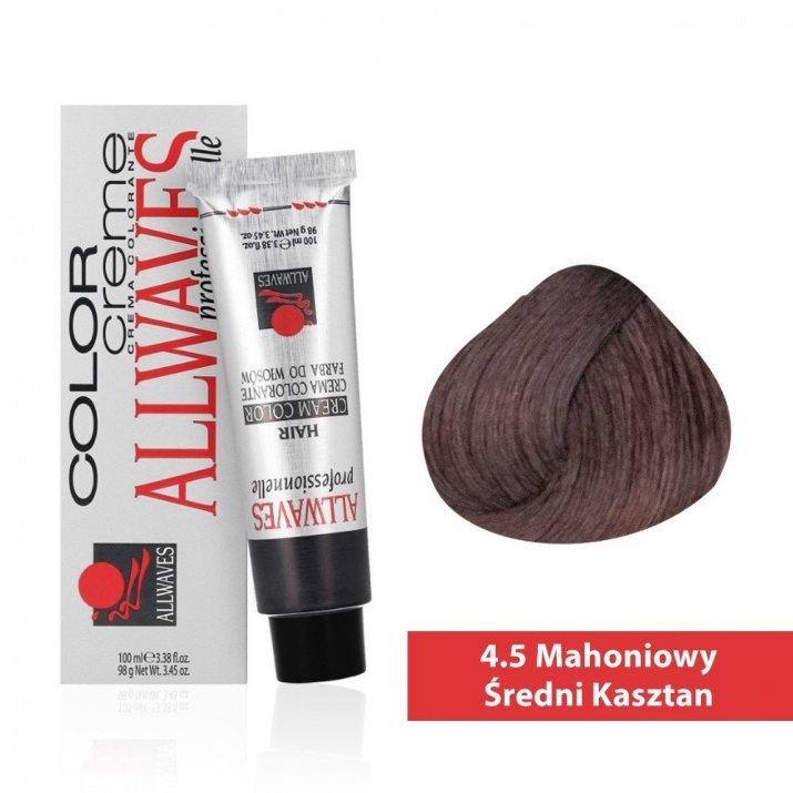 Боя за коса Allwaves Color Cream 100мл + 150мл оксидант 4/5 Махагоново средно кафяво