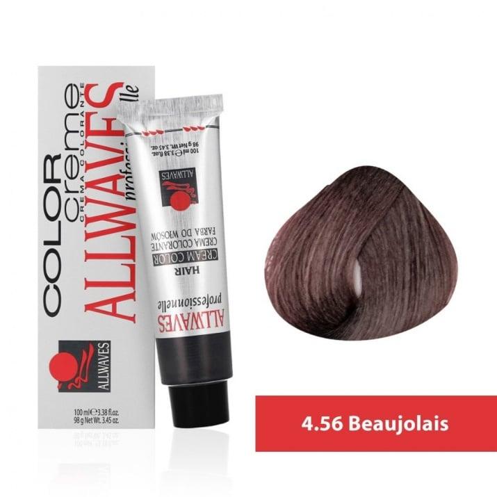 Боя за коса Allwaves Color Cream 100мл + 150мл оксидант 4/56 Божоле