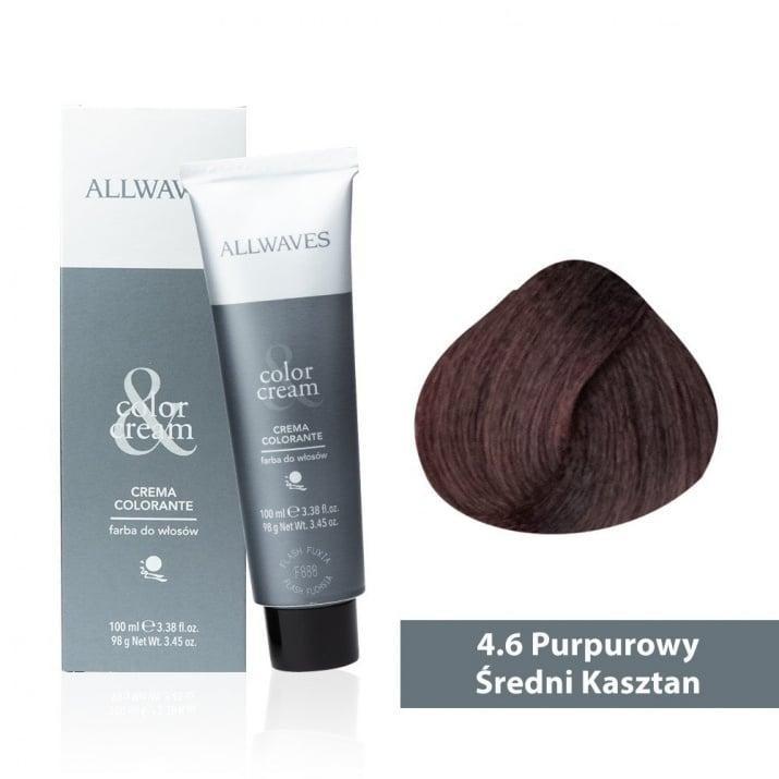 Боя за коса Allwaves Color Cream 100мл + 150мл оксидант 4/6 Виолетово средно кафяво