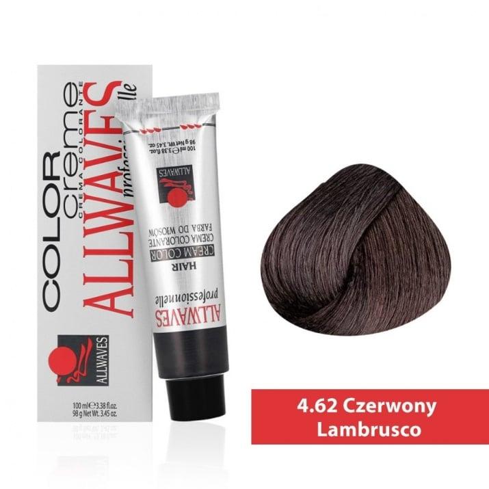 Боя за коса Allwaves Color Cream 100мл + 150мл оксидант 4/62 Ламбруско винено червено