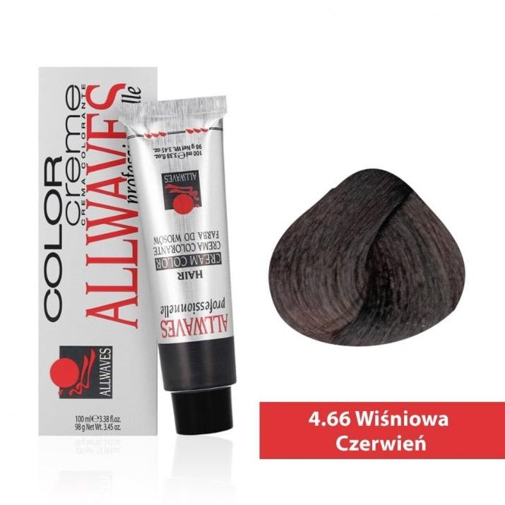 Боя за коса Allwaves Color Cream 100мл + 150мл оксидант 4/66 Черешово червено