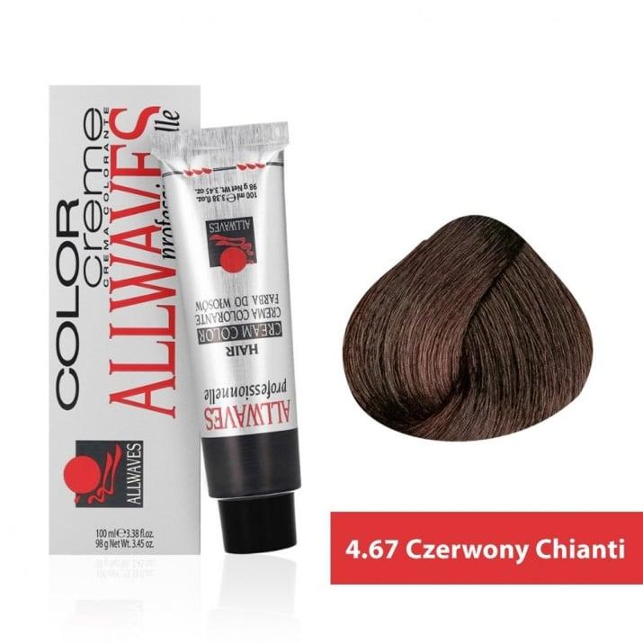 Боя за коса Allwaves Color Cream 100мл + 150мл оксидант 4/67 Червено кианти