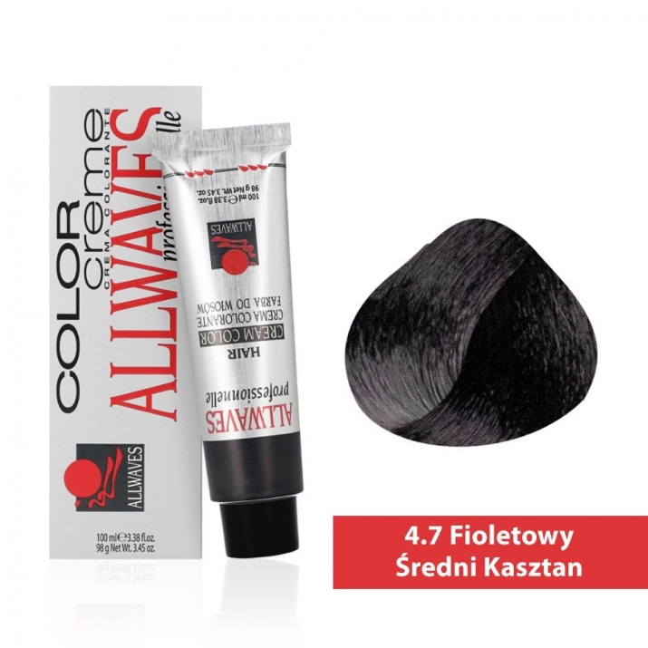 Боя за коса Allwaves Color Cream 100мл + 150мл оксидант 4/7 Виолетово средно кафяво