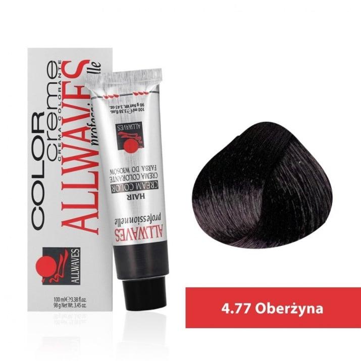 Боя за коса Allwaves Color Cream 100мл + 150мл оксидант 4/77 Патладжан
