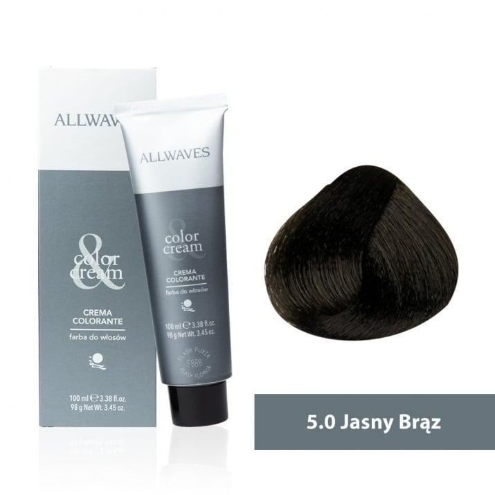 Боя за коса Allwaves Color Cream 100мл + 150мл оксидант 5/0 Светлокафяво