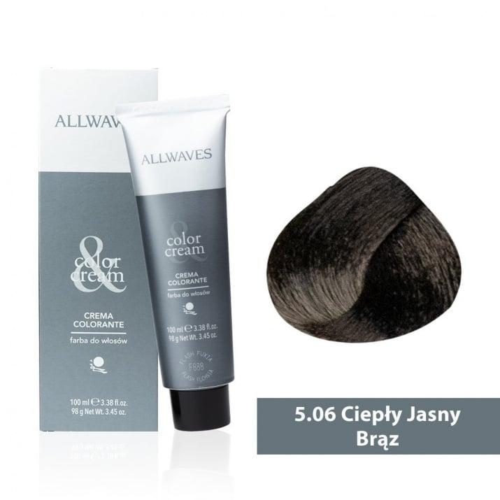 Боя за коса Allwaves Color Cream 100мл + 150мл оксидант 5/06 Топло светло кафяво