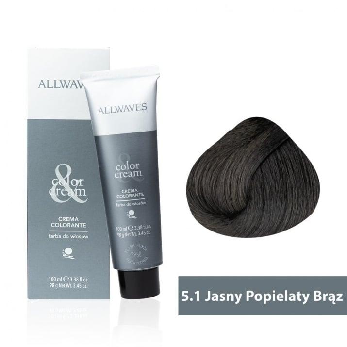 Боя за коса Allwaves Color Cream 100мл + 150мл оксидант 5/1 Пепелно светлокафяво