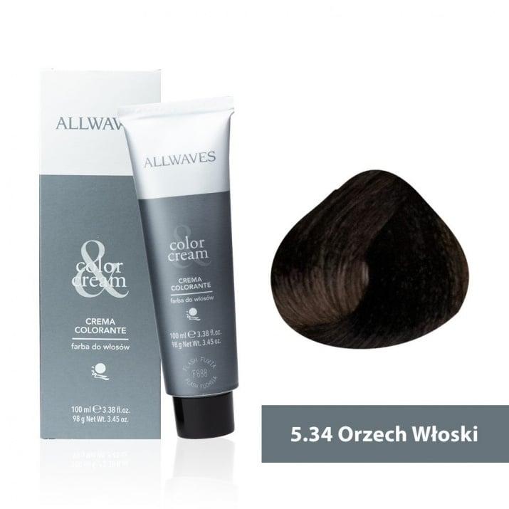 Боя за коса Allwaves Color Cream 100мл + 150мл оксидант 5/34 Орех
