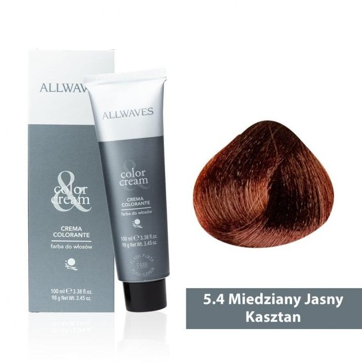 Боя за коса Allwaves Color Cream 100мл + 150мл оксидант 5/4 Медно светлокафяво