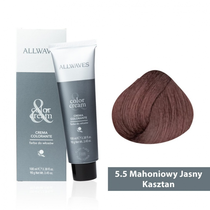 Боя за коса Allwaves Color Cream 100мл + 150мл оксидант 5/5 Махагоново светло кафяво