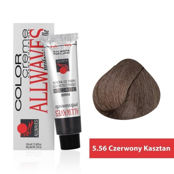 Боя за коса Allwaves Color Cream 100мл + 150мл оксидант 5/56 Червено-кафяво