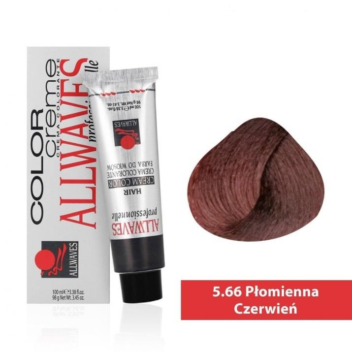 Боя за коса Allwaves Color Cream 100мл + 150мл оксидант 5/66 Огнено червено