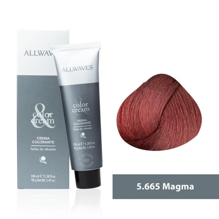 Боя за коса Allwaves Color Cream 100мл + 150мл оксидант 5/665 Магма