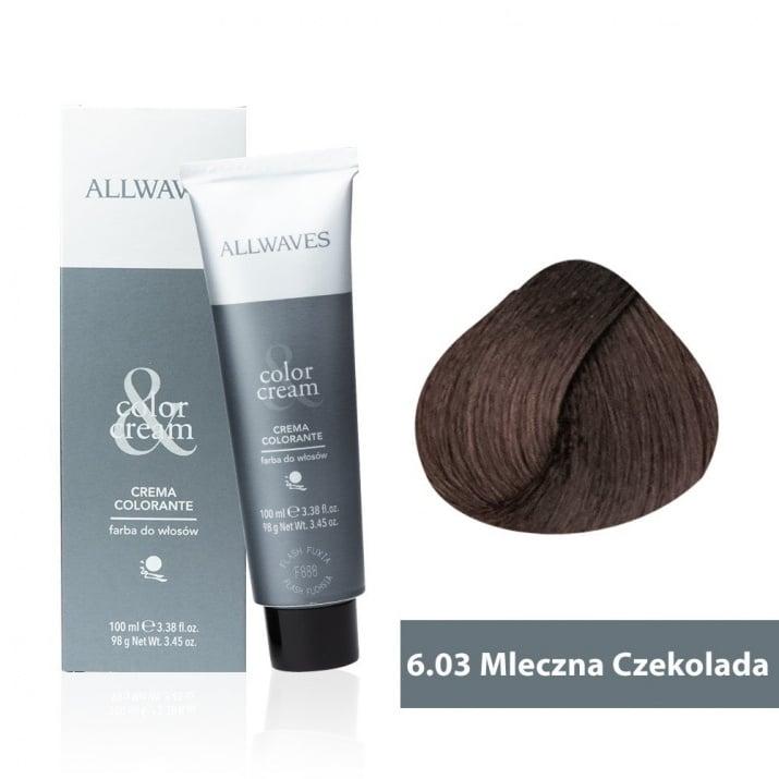 Боя за коса Allwaves Color Cream 100мл + 150мл оксидант 6/03 Млечен шоколад