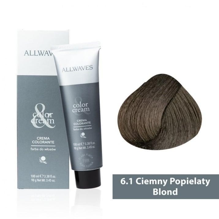 Боя за коса Allwaves Color Cream 100мл + 150мл оксидант 6/1 Пепелно тъмнорусо