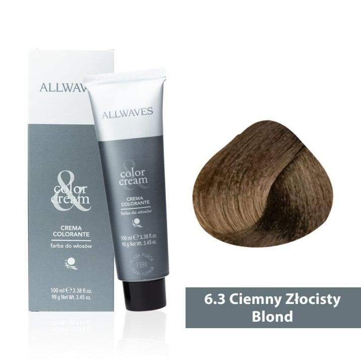 Боя за коса Allwaves Color Cream 100мл + 150мл оксидант 6/3 Тъмно златисто русо