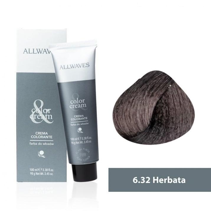 Боя за коса Allwaves Color Cream 100мл + 150мл оксидант 6/32 Чай