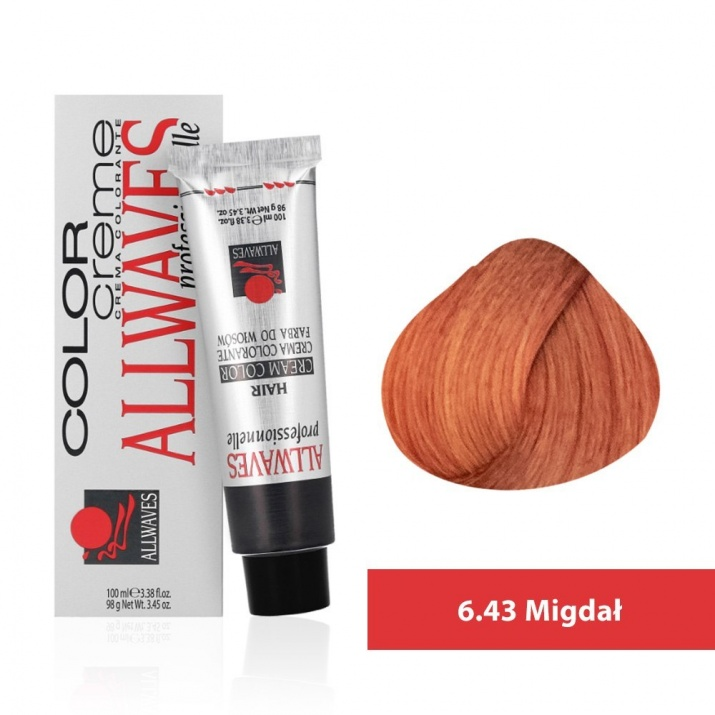 Боя за коса Allwaves Color Cream 100мл + 150мл оксидант 6/43 Бадем
