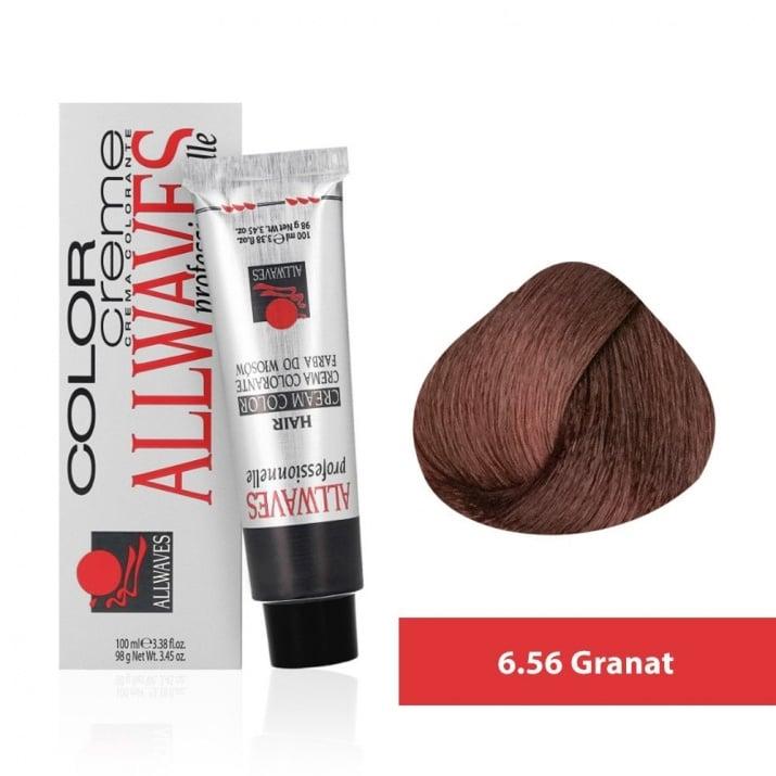 Боя за коса Allwaves Color Cream 100мл + 150мл оксидант 6/56 Гранат
