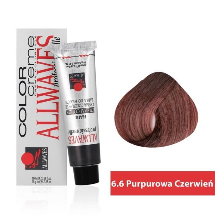 Боя за коса Allwaves Color Cream 100мл + 150мл оксидант 6/6 Виолетово-червено