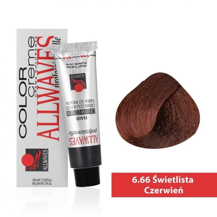 Боя за коса Allwaves Color Cream 100мл + 150мл оксидант 6/66 Ярко червено