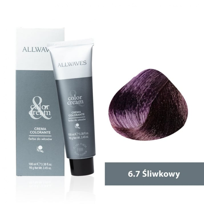 Боя за коса Allwaves Color Cream 100мл + 150мл оксидант 6/7 Слива