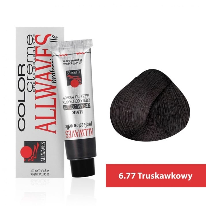Боя за коса Allwaves Color Cream 100мл + 150мл оксидант 6/77 Фраголино