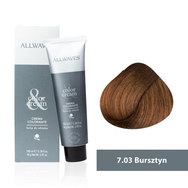Боя за коса Allwaves Color Cream 100мл + 150мл оксидант 7/03 Амбър