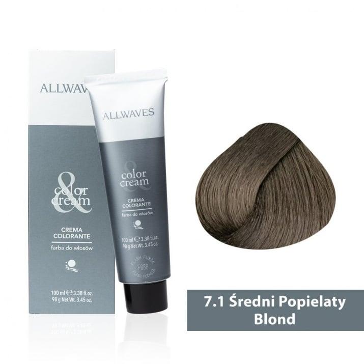 Боя за коса Allwaves Color Cream 100мл + 150мл оксидант 7/1 Пеплно средно русо