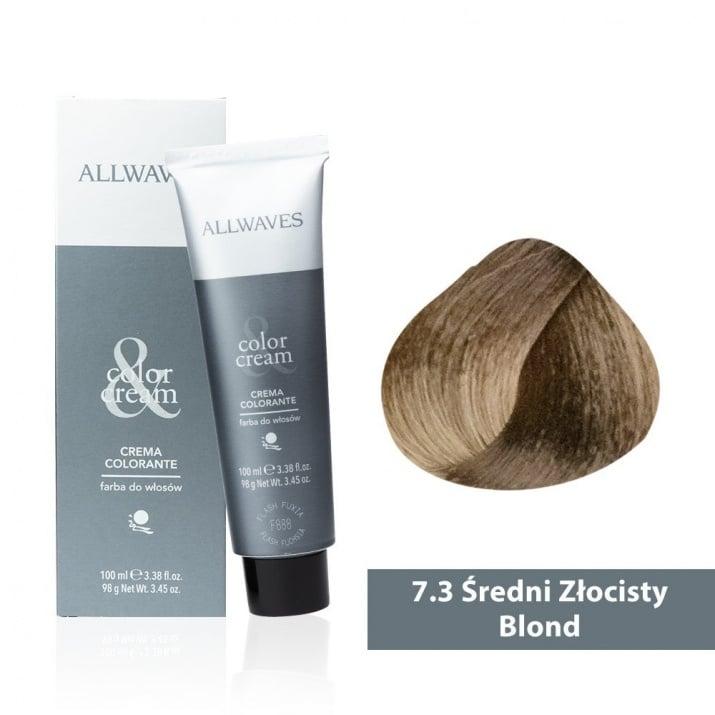Боя за коса Allwaves Color Cream 100мл + 150мл оксидант 7/3 Средно златисто русо