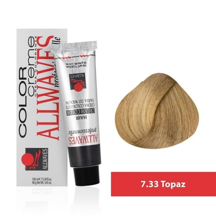 Боя за коса Allwaves Color Cream 100мл + 150мл оксидант 7/33 Топаз