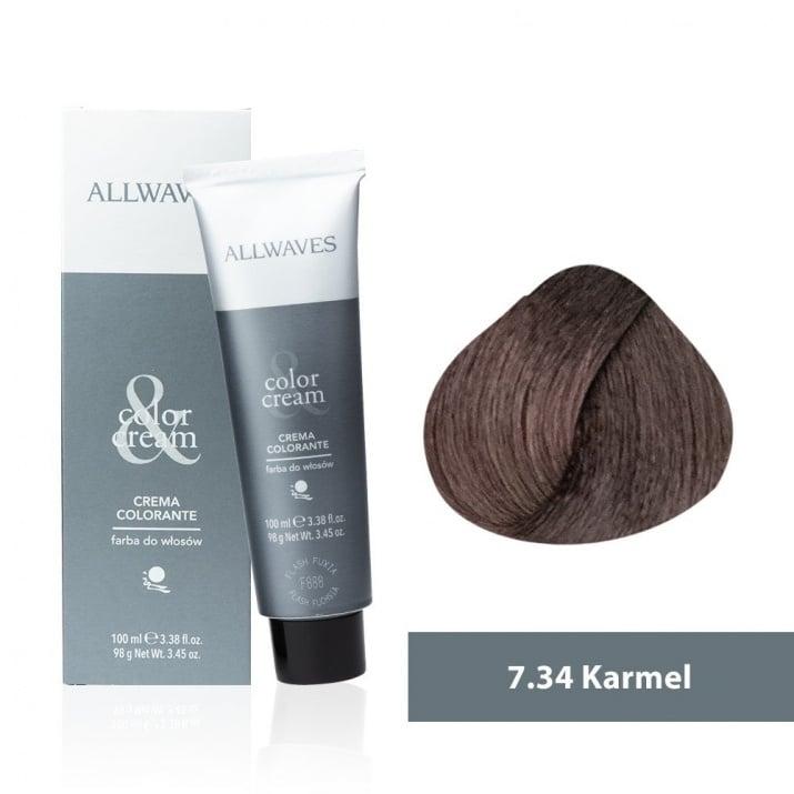 Боя за коса Allwaves Color Cream 100мл + 150мл оксидант 7/34 Карамел