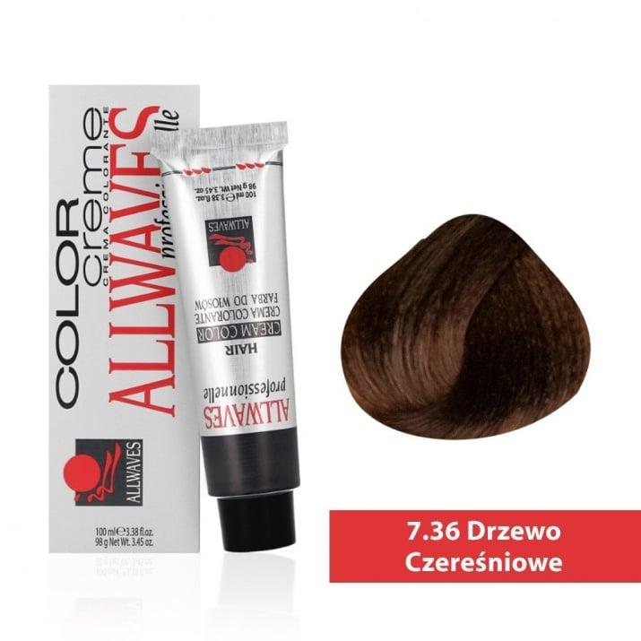 Боя за коса Allwaves Color Cream 100мл + 150мл оксидант 7/36 Черешово дърво