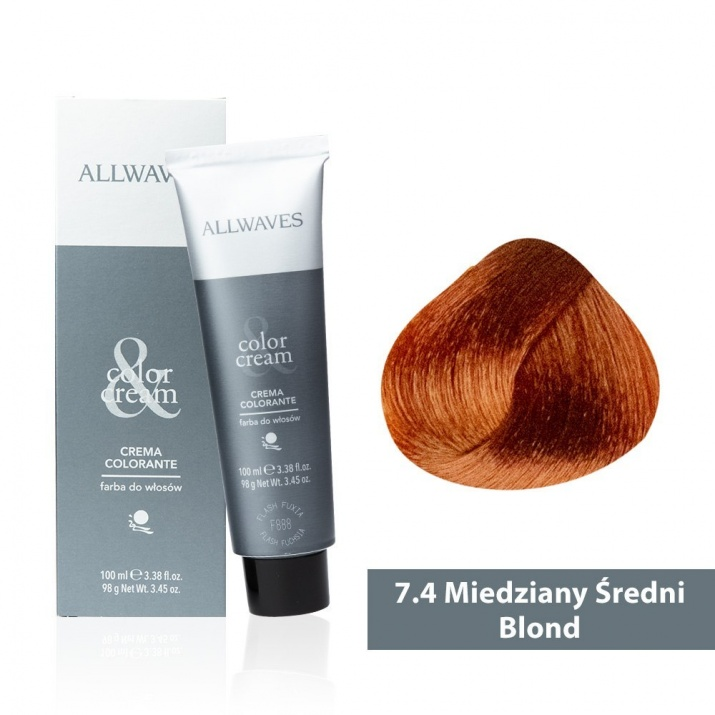 Боя за коса Allwaves Color Cream 100мл + 150мл оксидант 7/4 Медно средно русо