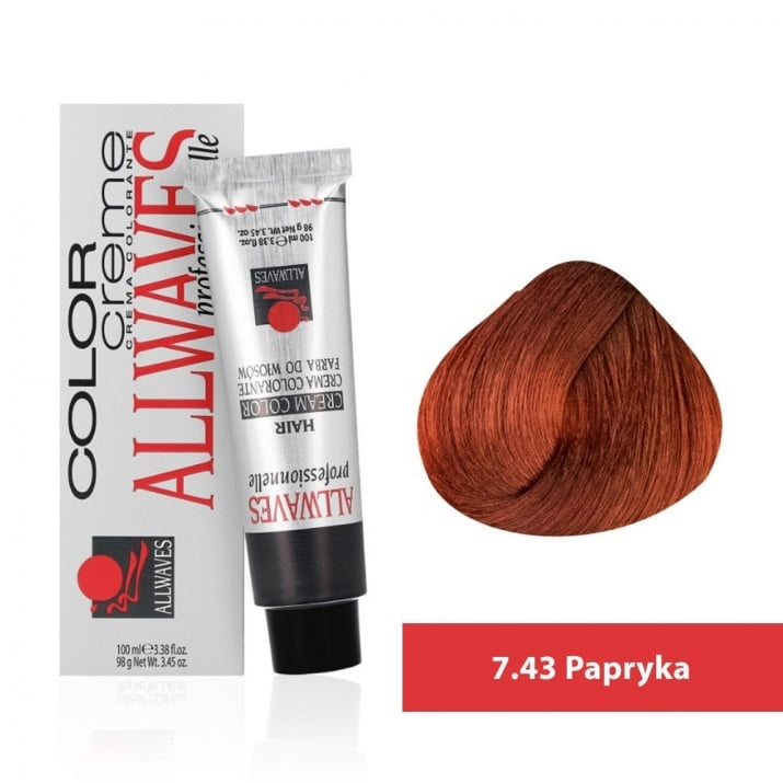 Боя за коса Allwaves Color Cream 100мл + 150мл оксидант 7/43 Паприка