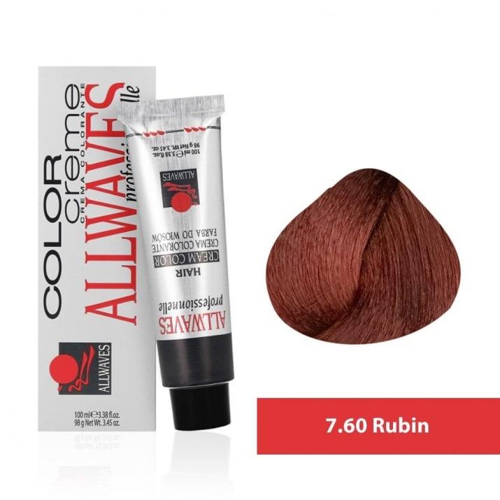 Боя за коса Allwaves Color Cream 100мл + 150мл оксидант 7/60 Рубинено червено