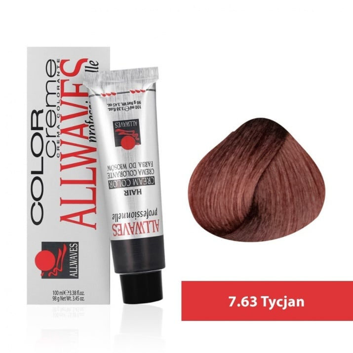 Боя за коса Allwaves Color Cream 100мл + 150мл оксидант 7/63 Тицианово червено