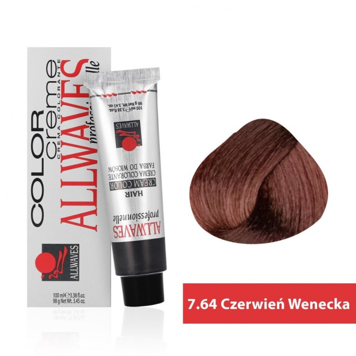 Боя за коса Allwaves Color Cream 100мл + 150мл оксидант 7/64 Венецианско червено