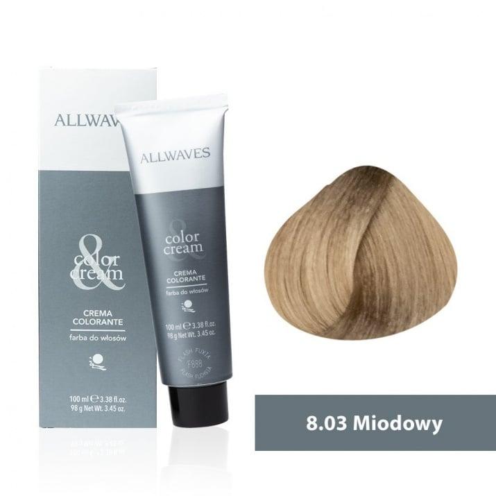 Боя за коса Allwaves Color Cream 100мл + 150мл оксидант 8/03 Мед