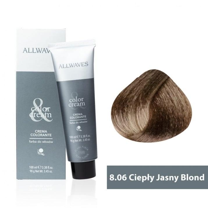 Боя за коса Allwaves Color Cream 100мл + 150мл оксидант 8/06 Топло светлорусо